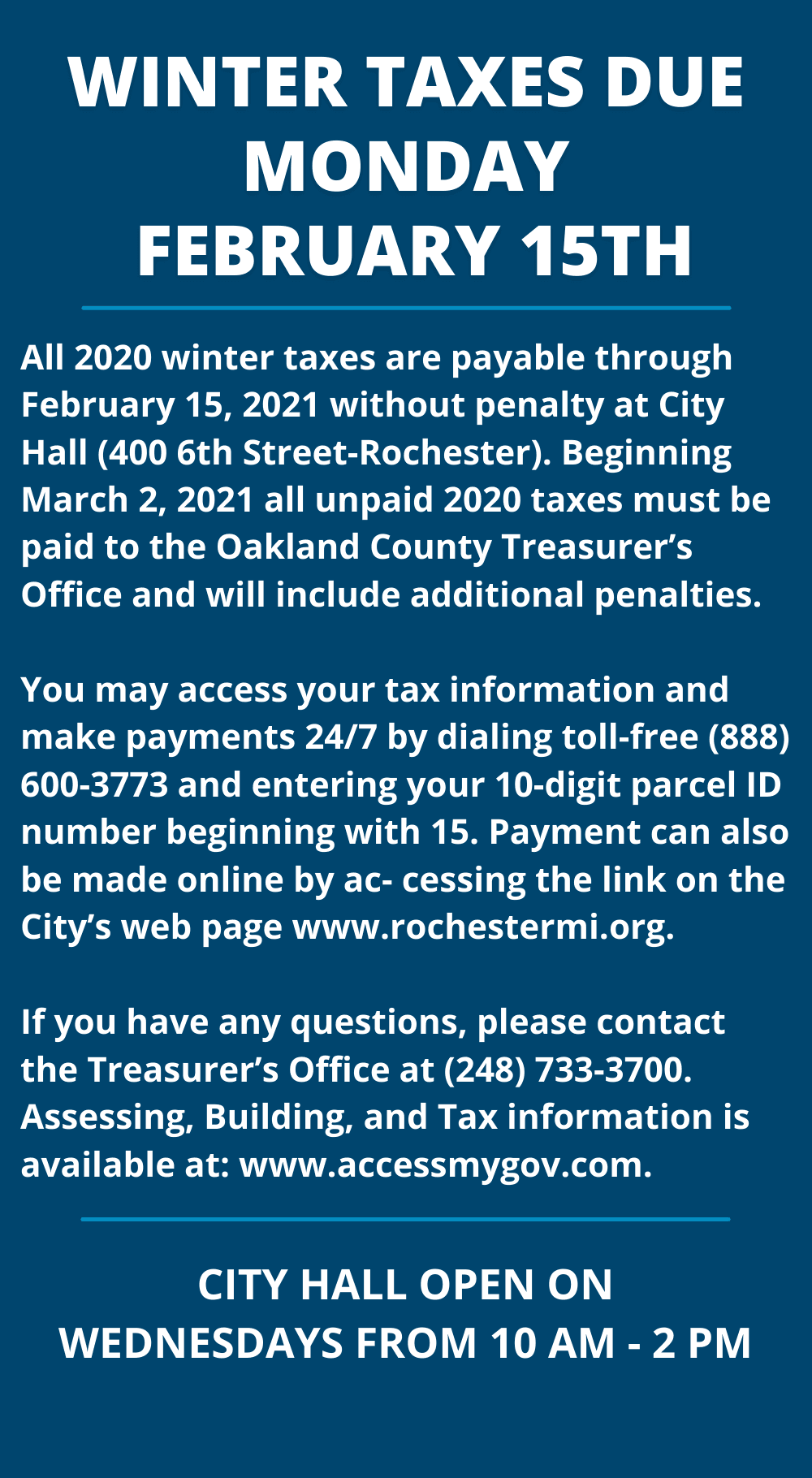 Winter Taxes Due